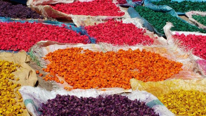 Color de los pigmentos naturales de Marruecos