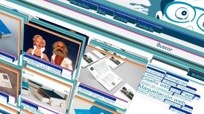 Estructura de una web en 3D vista en Firefox